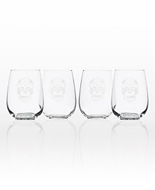 Rolf Glass Sugar Skull Stemless 17Oz - Set Of 4 Glasses