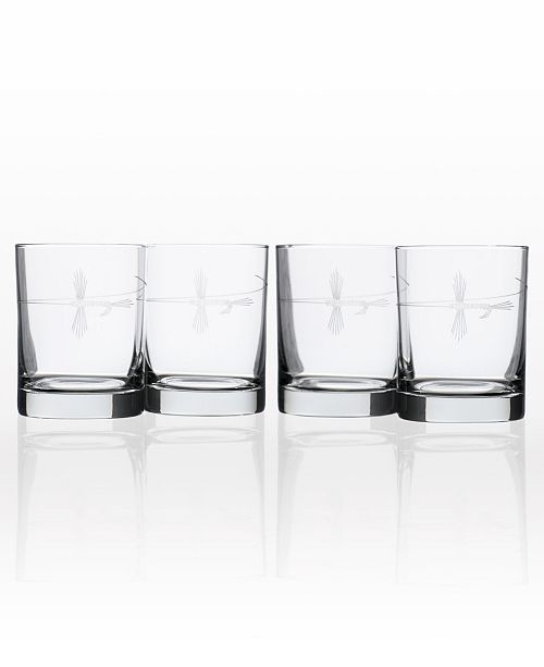 Rolf Glass Fly Fishing Double Old Fashioned 14Oz - Set Of 4 Glasses