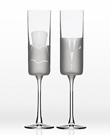Wedding Cheers Series 2 (Dress/Tux) Flute 5.75Oz - Gift Box Set Of 2
