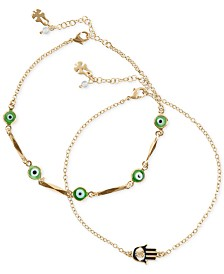 Lucky Brand Gold-Tone 2-Pc. Set Charm Anklet, Created for Macy's