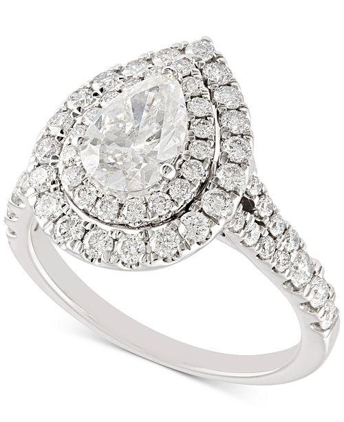 Macy's Diamond Pear Double Halo Engagement Ring (2 ct. t.w.) in 14k White Gold