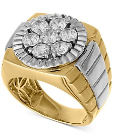 Men's Diamond Cluster Two-Tone Ring (2-1/4 ct. t.w.) in 10k Gold & White Gold
