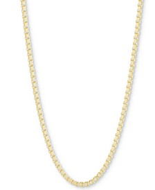 "Box Link Chain Necklace, Adjustable 16"" - 20"""
