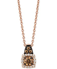 "Le Vian Chocolatier® Diamond 18"" Pendant Necklace (1/4 ct. t.w.) in 14k Rose Gold"
