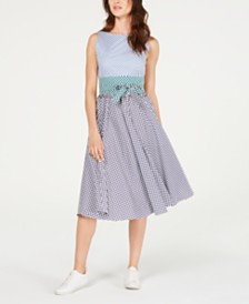 Marella Remo Checkered Belted Fit & Flare Dress