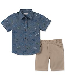 Kids Headquarters Little Boys 2-Pc. Dinosaur-Print Chambray Shirt & Twill Shorts Set