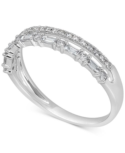 Macy's Diamond Two-Row Band (3/8 ct. t.w.) in 14k White Gold