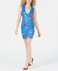 GUESS Open-Back Sequined Floral Lace Dress