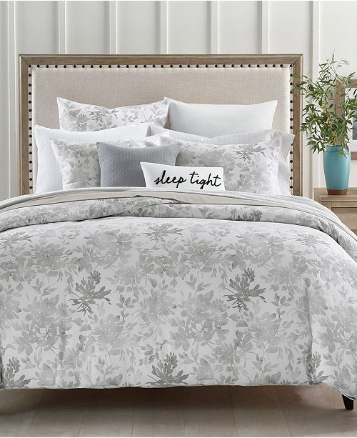 Charter Club Watercolor Leaf Cotton 300-Thread Count 2-Pc. Twin Duvet Cover Set, Created for Macy's