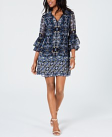 Vince Camuto Petite Ruffle-Sleeve Shift Dress