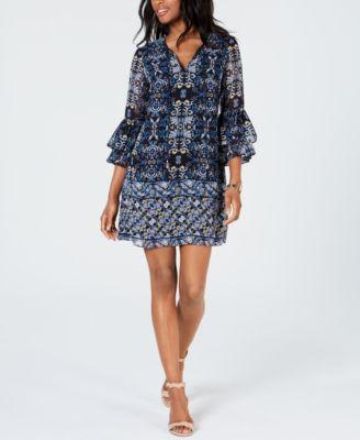 Bell Sleeve Chiffon Dress
