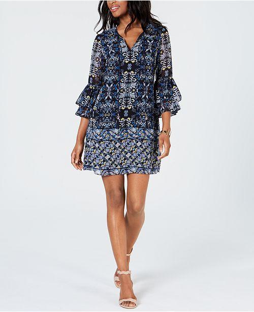 Vince Camuto Bell-Sleeve Chiffon Dress