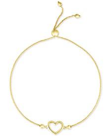 Open Heart Bolo Bracelet in 10k Gold