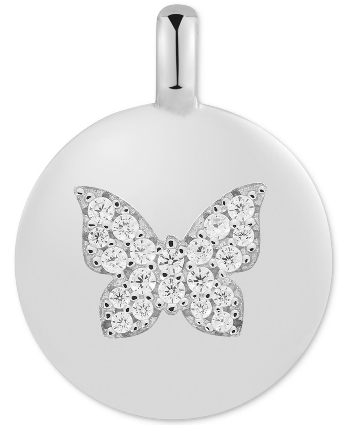 "Cubic Zirconia Butterfly ""Believe in Yourself"" Reversible Disc Pendant in Sterling Silver"