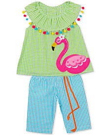 Rare Editions Little Girls Flamingo Gingham Top & Capris Set