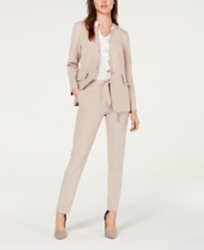 Nine West Ruffle-Pocket Jacket & Belted Stretch Pants