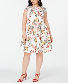 Emerald Sundae Plus Size Floral Fit & Flare Dress