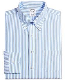 Men's Milano Extra-Slim Fit Non-Iron Blue Stripe Supima Cotton Dress Shirt