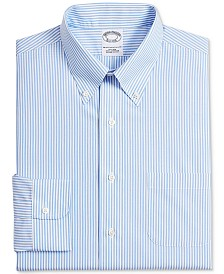 Brooks Brothers Men's Milano Extra-Slim Fit Non-Iron Blue Stripe Supima Cotton Dress Shirt