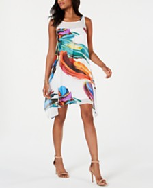 Robbie Bee Petite Printed Chiffon A-Line Dress