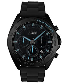 Men's Chronograph Intensity Black Rubber Strap Watch 44mm