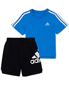 adidas Toddler Boys 2-Pc. Cotton Logo-Print T-Shirt & Shorts Set