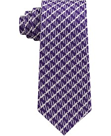 Sean John Men's Textured Gingham Grid Silk Tie