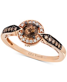Le Vian® Chocolate Quartz® (3/8 ct. t.w.) & Diamond (1/5 ct. t.w.) Statement Ring in 14k Rose Gold