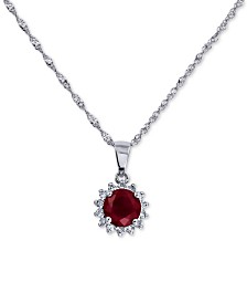 "Certified Ruby (7/8 ct. t.w.) & Diamond (1/10 ct. t.w.) 18"" Pendant Necklace in 14k White Gold"
