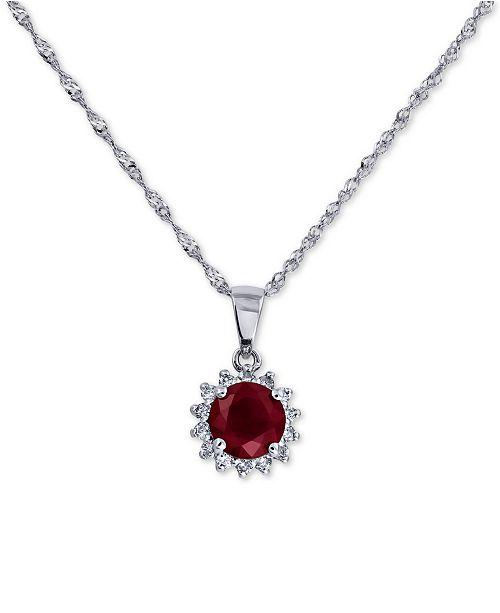 "Macy's Certified Ruby (7/8 ct. t.w.) & Diamond (1/10 ct. t.w.) 18"" Pendant Necklace in 14k White Gold"