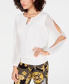 Thalia Sodi Banded-Hem Keyhole Top, Created for Macy's