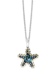 """EFFY® Multi-Gemstone Starfish 18"""" Pendant Necklace (1-7/8 ct. t.w.) in Sterling Silver & 18k Gold-Plate"""