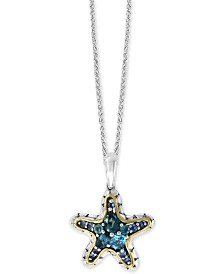 "EFFY® Multi-Gemstone Starfish 18"" Pendant Necklace (1-7/8 ct. t.w.) in Sterling Silver & 18k Gold-Plate"