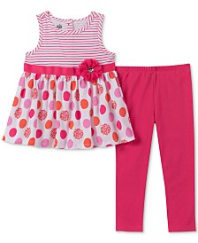 Kids Headquarters Baby Girls 2-Pc. Stripe & Dot Tunic & Leggings Set