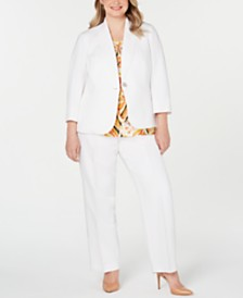 Kasper Plus Size One-Button Blazer, Pleat-Neck Keyhole Top & Straight-Leg Pants