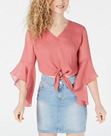 GUESS Rylee Sheer-Sleeve Tie-Hem Top