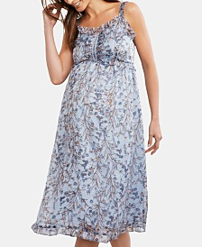 A Pea In The Pod Maternity Printed Midi Dress