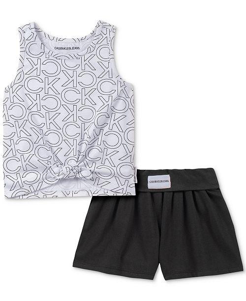Calvin Klein Little Girls 2-Pc. Tie-Front Logo Tank Top & Shorts Set