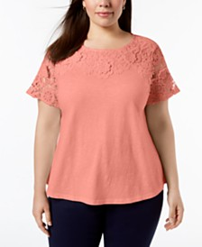 Charter Club Plus Size Cotton Lace Top, Created for Macy's