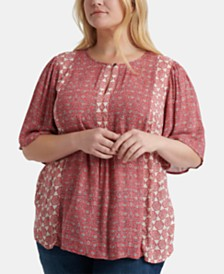 Lucky Brand Plus Size Mixed Tile Print Top
