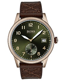 BOSS Men's Legacy Brown Leather Strap Watch 44mm