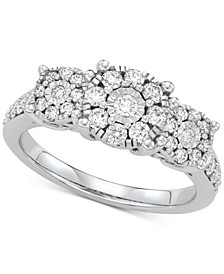 Diamond Cluster Statement Ring (3/4 ct. t.w.) in 14k White Gold