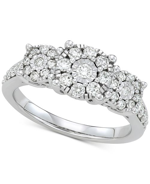 Macy's Diamond Cluster Statement Ring (3/4 ct. t.w.) in 14k White Gold