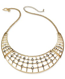 "Thalia Sodi Gold-Tone Crystal Cage Statement Necklace, 16-1/4"" + 3"" extender, Created for Macy's"