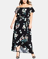 58ebfcc7e2830 City Chic Trendy Plus Size Donatella Printed Off-The-Shoulder Maxi Dress