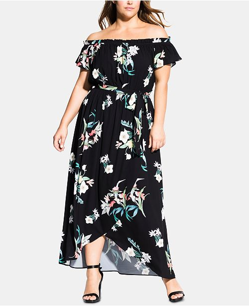 City Chic Trendy Plus Size Donatella Printed Off-The-Shoulder Maxi Dress