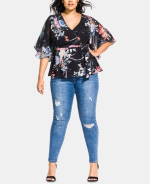 City Chic Tops TRENDY PLUS SIZE PRINTED FAUX-WRAP TOP