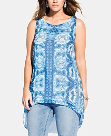 City Chic Trendy Plus Size Mykonos Printed High-Low Top