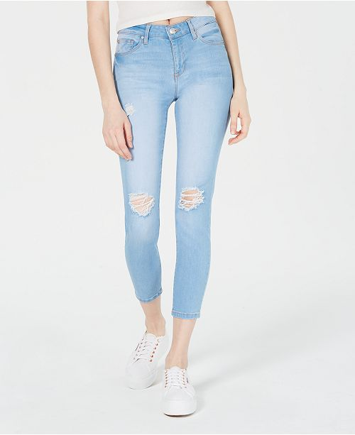 Celebrity Pink Juniors' Ripped Skinny Ankle Jeans