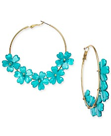 I.N.C. Gold-Tone Flower Hoop Earrings, Created for Macy's